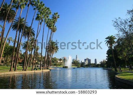 Los Angeles- Echo Park with LA skyline in the background - stock photo