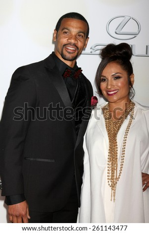 LOS ANGELES - FEB 6:  Aaron D. Spears, Estela Spears at the 46th NAACP Image Awards Arrivals at a Pasadena Convention Center on February 6, 2015 in Pasadena, CA - stock photo