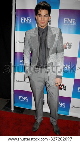 LOS ANGELES - FEB 8 - Adam Lambert arrives at the 16th Annual Friends N Family Pre Grammy Party on February 8, 2013 in Los Angeles, CA              - stock photo