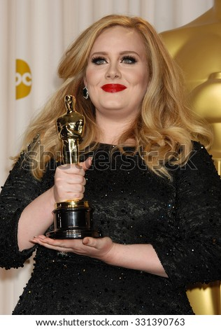 LOS ANGELES - FEB 24 - Adele arrives at the 85th Annual Academy Awards Press Room  on February 24, 2013 in Los Angeles, CA              - stock photo