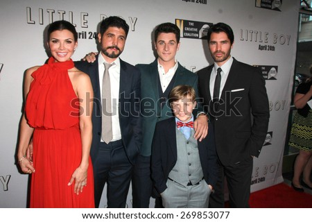"LOS ANGELES - FEB 14: Ali Landry, Alejandro Gomez Monteverde, David Henrie, Jakob Salvati, Eduardo Verastegui at the ""Little Boy"" Premiere at the Regal 14 Theaters on April 14, 2015 in Los Angeles, CA - stock photo"