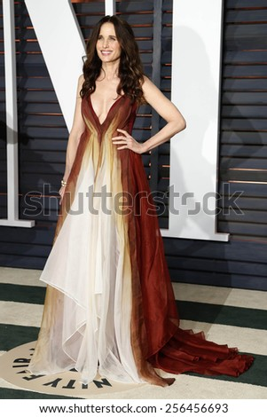 LOS ANGELES - FEB 22:  Andie MacDowell at the Vanity Fair Oscar Party 2015 at the Wallis Annenberg Center for the Performing Arts on February 22, 2015 in Beverly Hills, CA - stock photo