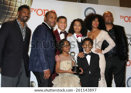 LOS ANGELES - FEB 6:  Anthony Anderson, actors Yara Shahidi, Marcus Scribner, Tracee Ellis Ross, Marsai Martin, Miles Brown at the 46th NAACP Image Awards on February 6, 2015 in Pasadena, CA - stock photo