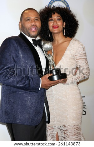 LOS ANGELES - FEB 6:  Anthony Anderson, Tracee Ellis Ross at the 46th NAACP Image Awards Press Room at a Pasadena Convention Center on February 6, 2015 in Pasadena, CA - stock photo