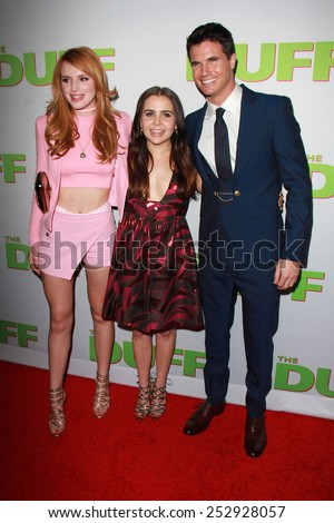 "LOS ANGELES - FEB 12:  Bella Thorne, Mae Whitman, Robbie Amell at the ""The Duff"" Los Angeles Premiere at a TCL Chinese 6 Theaters on February 12, 2015 in Los Angeles, CA - stock photo"