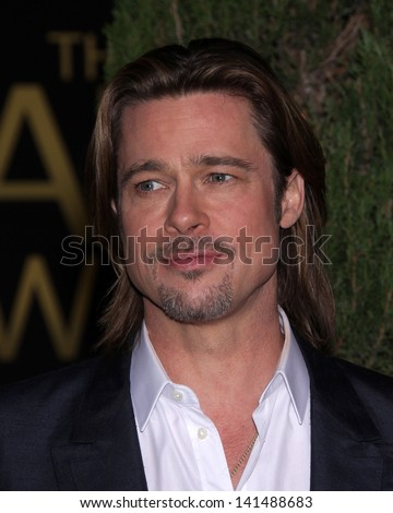 LOS ANGELES - FEB 6:  BRAD PITT arrives to the 2012 Academy Awards Nominee Luncheon  on Feb 6, 2012 in Beverly Hills, CA - stock photo