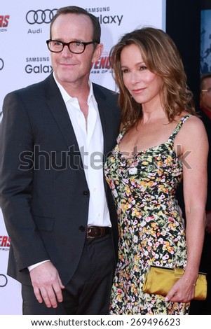 "LOS ANGELES - FEB 13:  Clark Gregg, Jennifer Grey at the ""Avengers; Age Of Ultron"" Los Angeles Premiere at the Dolby Theater on April 13, 2015 in Los Angeles, CA - stock photo"