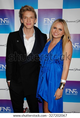 LOS ANGELES - FEB 8 - Cody Simpson and Ali Simpson arrives at the 16th Annual Friends N Family Pre Grammy Party on February 8, 2013 in Los Angeles, CA              - stock photo