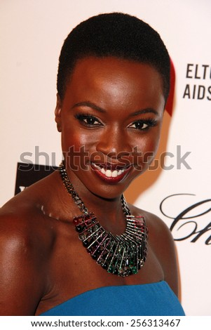 LOS ANGELES - FEB 22:  Danai Gurira at the Elton John Oscar Party 2015 at the City Of West Hollywood Park on February 22, 2015 in West Hollywood, CA - stock photo