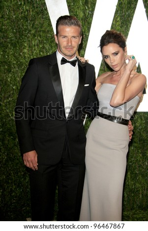 LOS ANGELES - FEB 26:  David Beckham; Victoria Beckham arrive at the 2012 Vanity Fair Oscar Party  at the Sunset Tower on February 26, 2012 in West Hollywood, CA - stock photo