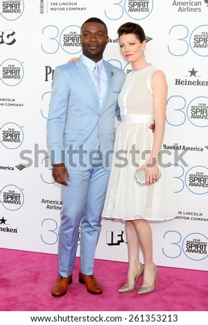 LOS ANGELES - FEB 21:  David Oyelowo, Jessica Oyelowo at the 30th Film Independent Spirit Awards at a tent on the beach on February 21, 2015 in Santa Monica, CA - stock photo
