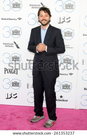 LOS ANGELES - FEB 21:  Diego Luna at the 30th Film Independent Spirit Awards at a tent on the beach on February 21, 2015 in Santa Monica, CA - stock photo