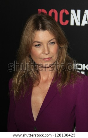 LOS ANGELES - FEB 9:  Ellen Pompeo arrives at the ROC NATION Annual Pre-Grammy Brunch at the Soho House on February 9, 2013 in West Hollywood, CA - stock photo