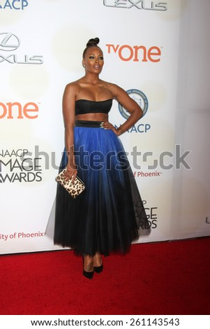 LOS ANGELES - FEB 6:  Eva Marcille at the 46th NAACP Image Awards Arrivals at a Pasadena Convention Center on February 6, 2015 in Pasadena, CA - stock photo