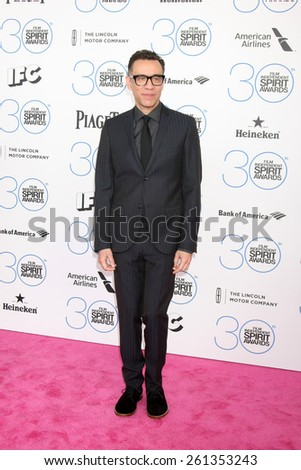 LOS ANGELES - FEB 21:  Fred Armisen at the 30th Film Independent Spirit Awards at a tent on the beach on February 21, 2015 in Santa Monica, CA - stock photo
