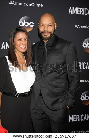 "LOS ANGELES - FEB 28:  Gayle Ridley, John Ridley at the ""American Crime"" Premiere Screening at the The Theatre at Ace Hotel on February 28, 2015 in Los Angeles, CA - stock photo"
