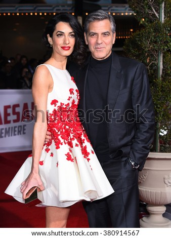 "LOS ANGELES - FEB 01:  George Clooney & Amal Alamuddin arrives to the ""Hail, Caesar"" World Premiere  on February 01, 2016 in Westwood, CA.                 - stock photo"
