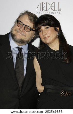 LOS ANGELES - FEB 14: Guillermo del Toro, Lorenza Newton at the Make-Up Artists & Hair Stylists Guild Awards at the Paramount Theater on February 14, 2015 in Los Angeles, CA - stock photo