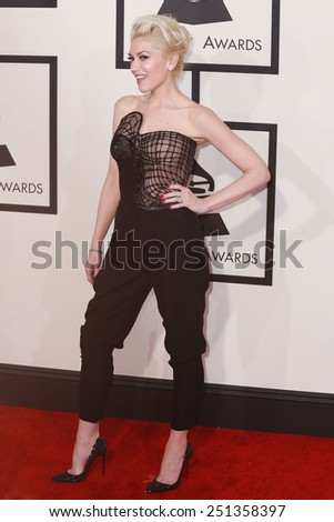 LOS ANGELES - FEB 8:  Gwen Stefani at the 57th Annual GRAMMY Awards Arrivals at a Staples Center on February 8, 2015 in Los Angeles, CA - stock photo