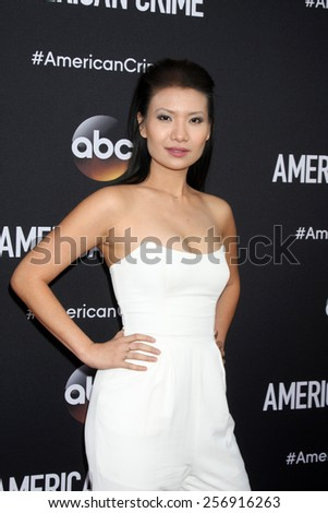 """LOS ANGELES - FEB 28:  Gwendoline Yeo at the """"American Crime"""" Premiere Screening at the The Theatre at Ace Hotel on February 28, 2015 in Los Angeles, CA - stock photo"""