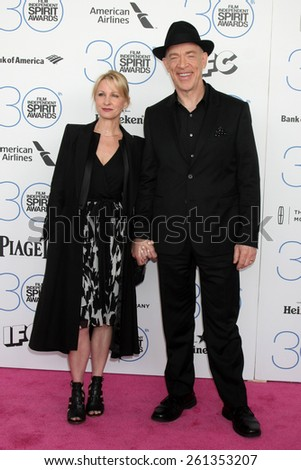 LOS ANGELES - FEB 21:  J.K. Simmons, Michelle Schumacher at the 30th Film Independent Spirit Awards at a tent on the beach on February 21, 2015 in Santa Monica, CA - stock photo
