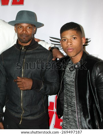 """LOS ANGELES - FEB 13:  Jamie Foxx, Bryshere Y Gray at the """"Brotherly Love"""" LA Premiere at the Silver Screen Theater at the Pacific Design Center on April 13, 2015 in West Hollywood, CA - stock photo"""