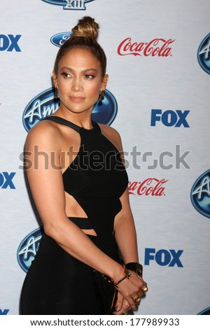 LOS ANGELES - FEB 20:  Jennifer Lopez at the American Idol 13 Finalists Party at Fig & Olive on February 20, 2014 in West Hollywood, CA - stock photo