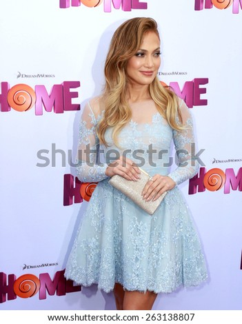 "LOS ANGELES - FEB 22:  Jennifer Lopez at the ""Home"" Special Screening Red Carpet at the Village Theater on March 22, 2015 in Westwood, CA - stock photo"