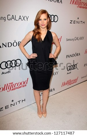 LOS ANGELES - FEB 4:  Jessica Chastain arrives at the Hollywood Reporter Celebrates the 85th Academy Awards Nominees event at the Spago on February 4, 2013 in Beverly Hills, CA - stock photo