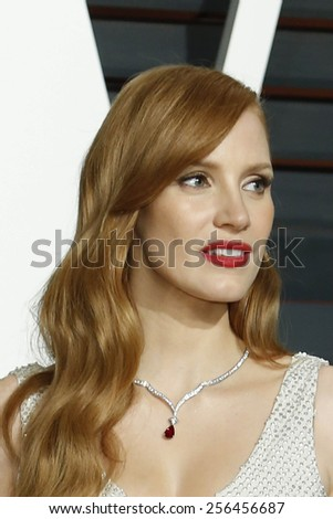 LOS ANGELES - FEB 22:  Jessica Chastain at the Vanity Fair Oscar Party 2015 at the Wallis Annenberg Center for the Performing Arts on February 22, 2015 in Beverly Hills, CA - stock photo