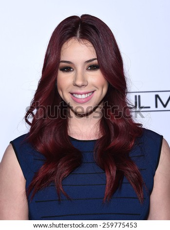 LOS ANGELES - FEB 14:  Jillian Rose Reed arrives to the Make-Up Artists & Hair Stylists Guild Awards 2015  on February 14, 2015 in Hollywood, CA                 - stock photo
