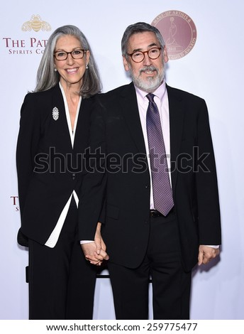 LOS ANGELES - FEB 14:  John Landis & Deborah Nadoolman Landis arrives to the Make-Up Artists & Hair Stylists Guild Awards 2015  on February 14, 2015 in Hollywood, CA                 - stock photo