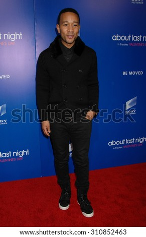 LOS ANGELES - FEB 11:  John Legend arrives at the Pan African Film and Arts Festival Premiere of Screen Gems About Last Night   on February 11, 2014 in Hollywood, CA                 - stock photo