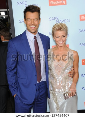 LOS ANGELES - FEB 05:  Josh Duhamel & Julianne Hough arrives to the 'Safe Haven' Hollywood Premiere  on February 05, 2013 in Hollywood, CA - stock photo