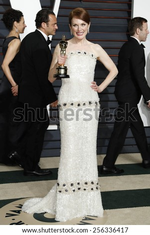 LOS ANGELES - FEB 22:  Julianne Moore at the Vanity Fair Oscar Party 2015 at the Wallis Annenberg Center for the Performing Arts on February 22, 2015 in Beverly Hills, CA - stock photo