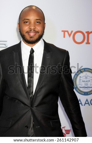 LOS ANGELES - FEB 6:  Justin Simien at the 46th NAACP Image Awards Arrivals at a Pasadena Convention Center on February 6, 2015 in Pasadena, CA - stock photo