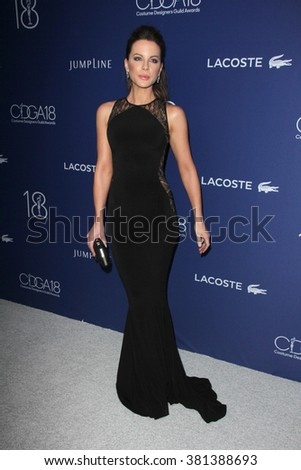 LOS ANGELES - FEB 23:  Kate Beckinsale at the 18th Costume Designers Guild Awards at the Beverly Hilton Hotel on February 23, 2016 in Beverly Hills, CA - stock photo