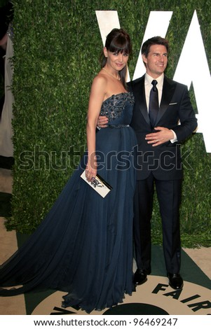 LOS ANGELES - FEB 26:  Katie Holmes; Tom Cruise arrive at the 2012 Vanity Fair Oscar Party  at the Sunset Tower on February 26, 2012 in West Hollywood, CA - stock photo