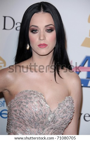 LOS ANGELES - FEB 12:  Katy Perry arrives at the 2011 Pre-GRAMMY Gala And Salute To Industry Icons  at Beverly Hilton Hotel on February 12, 2011 in Beverly Hills, CA - stock photo
