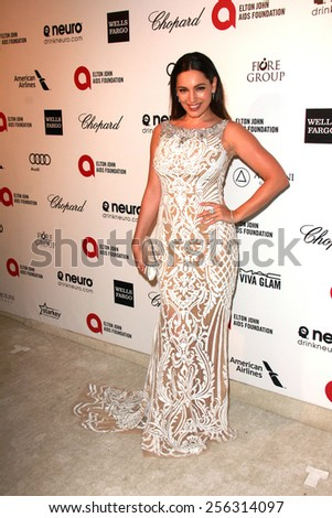 LOS ANGELES - FEB 22:  Kelly Brook at the Elton John Oscar Party 2015 at the City Of West Hollywood Park on February 22, 2015 in West Hollywood, CA - stock photo