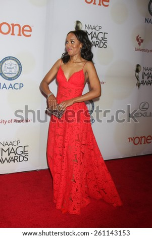 LOS ANGELES - FEB 6:  Kerry Washington at the 46th NAACP Image Awards Arrivals at a Pasadena Convention Center on February 6, 2015 in Pasadena, CA - stock photo