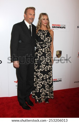 LOS ANGELES - FEB 2:  Kevin Costner, Christine Baumgartner at the AARP 14th Annual Movies For Grownups Awards Gala at a Beverly Wilshire Hotel on February 2, 2015 in Beverly Hills, CA - stock photo