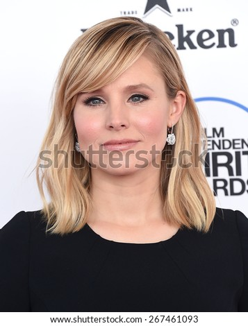 LOS ANGELES - FEB 21:  Kristen Bell arrives to the 2015 Film Independent Spirit Awards  on February 21, 2015 in Santa Monica, CA                 - stock photo