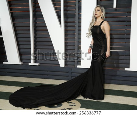 LOS ANGELES - FEB 22:  Lady Gaga at the Vanity Fair Oscar Party 2015 at the Wallis Annenberg Center for the Performing Arts on February 22, 2015 in Beverly Hills, CA - stock photo