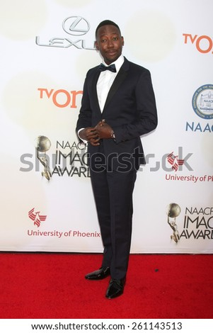 LOS ANGELES - FEB 6:  Lamorne Morris at the 46th NAACP Image Awards Arrivals at a Pasadena Convention Center on February 6, 2015 in Pasadena, CA - stock photo