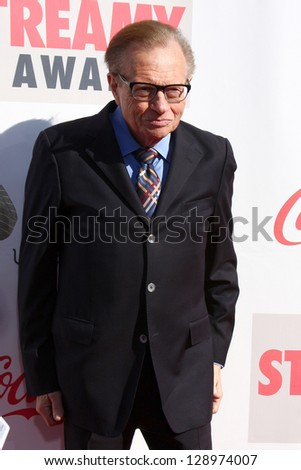 LOS ANGELES - FEB 17:  Larry King arrives at the 2013 Streamy Awards at the Hollywood Palladium on February 17, 2013 in Los Angeles, CA - stock photo