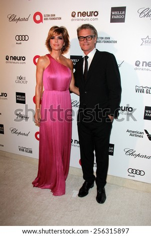 LOS ANGELES - FEB 22:  Lisa Rinna, Harry Hamlin at the Elton John Oscar Party 2015 at the City Of West Hollywood Park on February 22, 2015 in West Hollywood, CA - stock photo