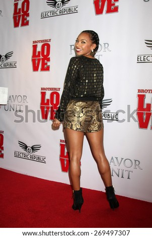 """LOS ANGELES - FEB 13:  Logan Browning at the """"Brotherly Love"""" LA Premiere at the Silver Screen Theater at the Pacific Design Center on April 13, 2015 in West Hollywood, CA - stock photo"""