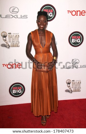LOS ANGELES - FEB 22:  Lupita Nyong'o at the 45th NAACP Image Awards Arrivals at Pasadena Civic Auditorium on February 22, 2014 in Pasadena, CA - stock photo