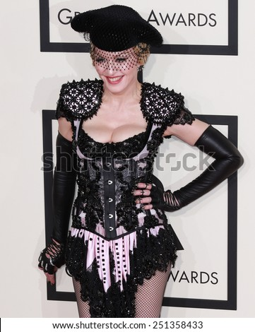 LOS ANGELES - FEB 8:  Madonna at the 57th Annual GRAMMY Awards Arrivals at a Staples Center on February 8, 2015 in Los Angeles, CA - stock photo